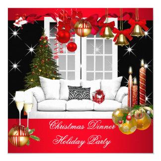 Blanco rojo de la celebración de días festivos de invitación 13,3 cm x 13,3cm