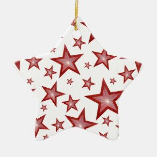 Blanco rojo de la estrella del ornamento de las ornamento de navidad