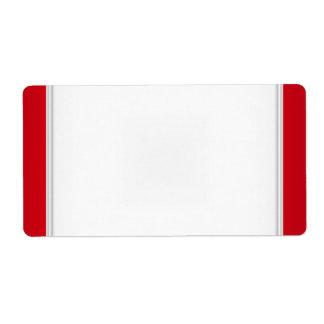 Blanco rojo de la etiqueta conocida de la etiqueta etiqueta de envío