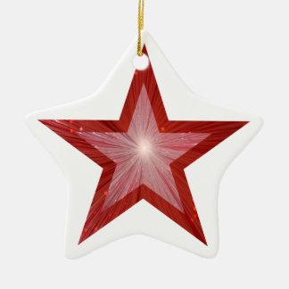 Blanco rojo de la forma de la estrella del adornos de navidad