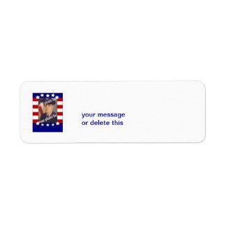 Blanco rojo de la foto de encargo patriótica de la etiqueta de remite