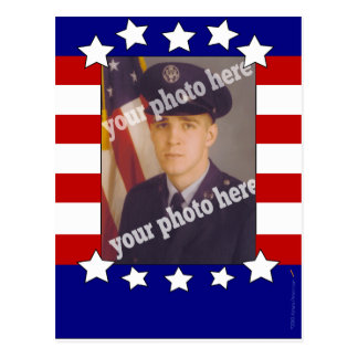Blanco rojo de la foto de encargo patriótica de postal