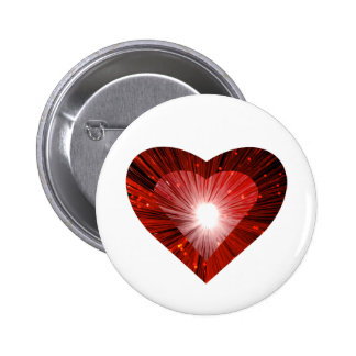 """Blanco rojo de la insignia del botón del """"corazón"""" pin redondo de 2 pulgadas"""