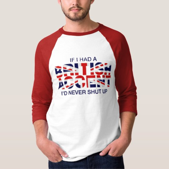 Blanco rojo del acento del raglán británico de la playera