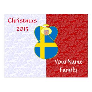 Blanco rojo del ángel sueco rubio de la bandera postales