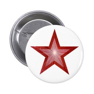 Blanco rojo del botón de la estrella pin redondo de 2 pulgadas