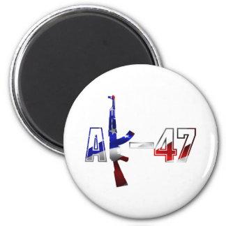 Blanco rojo del logotipo del rifle de asalto de AK Imán Redondo 5 Cm