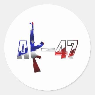 Blanco rojo del logotipo del rifle de asalto de pegatina redonda