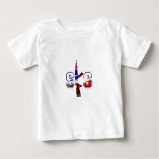 Blanco rojo del logotipo del rifle de asalto de playera de bebé