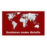 Blanco rojo del mapa del mundo tarjetas de negocios