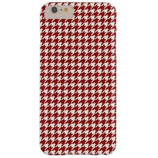 Blanco rojo del mini modelo de Houndstooth Funda Para iPhone 6 Plus Barely There