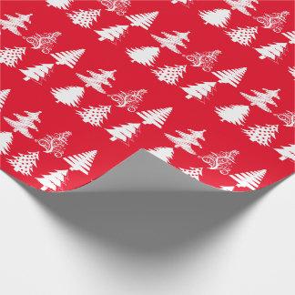 Blanco rojo del modelo del árbol de navidad papel de regalo