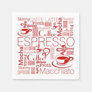 Blanco rojo del modelo del collage del café servilletas desechables