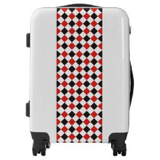 Blanco rojo del negro del modelo de los cuadrados maletas