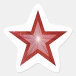 Blanco rojo del pegatina de la estrella-forma de
