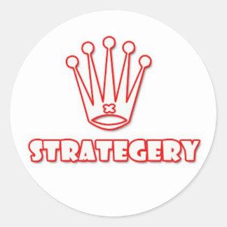blanco/rojo del strategery pegatina redonda