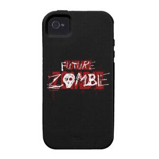 Blanco rojo del zombi futuro iPhone 4 carcasas