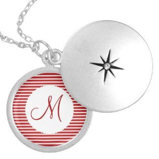 Blanco rojo personalizado de la inicial del monogr medallones