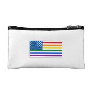 Blanco rojo y arco iris - w/Outline de la bandera