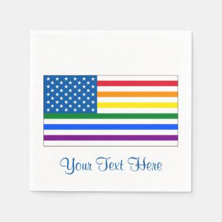 Blanco rojo y arco iris - w/Outline de la bandera Servilleta Desechable