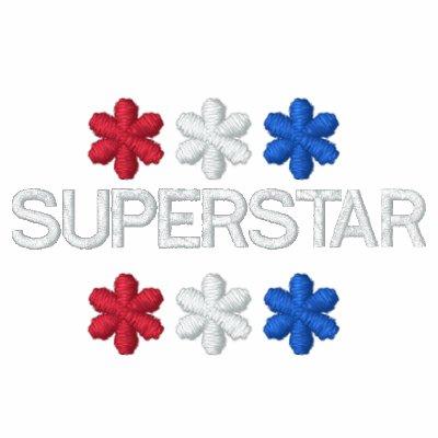 Blanco rojo y azul BORDADA SUPERESTRELLA Sudadera Encapuchada