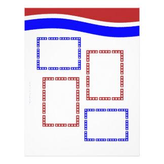 Blanco rojo y azul con las páginas de los capítulo membrete personalizado