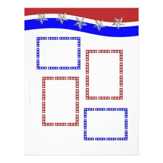 Blanco rojo y azul con los marcos y las estrellas membrete personalizado