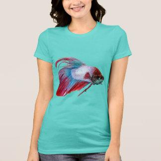 Blanco rojo y azul (los pescados despejan el fondo camiseta
