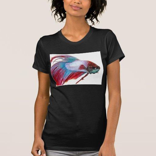 Blanco rojo y azul (pescados en el fondo blanco) camisetas