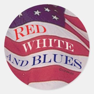 Blanco rojo y azules pegatinas