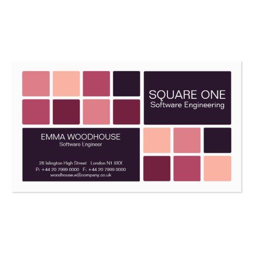 Blanco, rosa y ciruelo del cuadrado uno plantillas de tarjetas de visita
