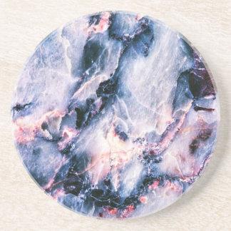 Blanco rosado azul de la textura de mármol fresca posavasos personalizados
