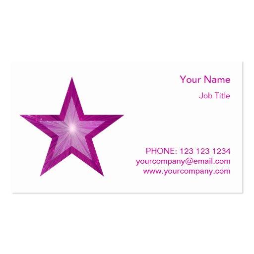 Blanco rosado de la estrella del lado de la tarjetas de visita