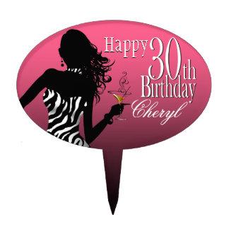 Blanco rosado del trigésimo cumpleaños de la cebra palillos de tarta