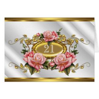 Blanco rosado doblado 3 de los rosas del oro del tarjeta pequeña