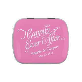 Blanco rosado feliz nunca después de casar la lata latas de dulces