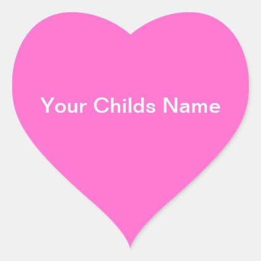 Blanco rosado personalizado corazón conocido del p colcomanias de corazon