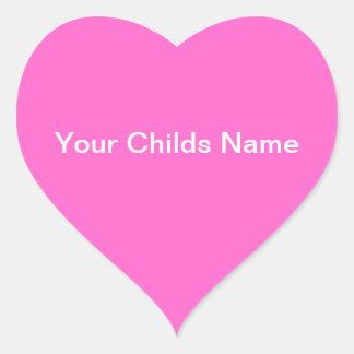 Blanco rosado personalizado corazón conocido del colcomanias de corazon