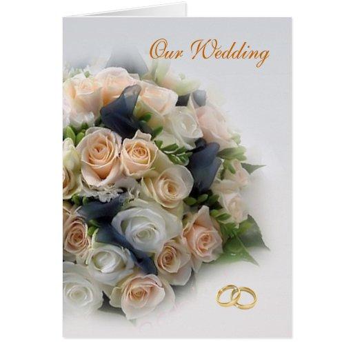 Blanco - rosas del melocotón que casan la tarjeta