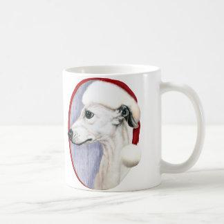 Blanco Santa del navidad de Whippet Tazas De Café