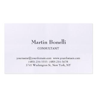 Blanco simple clásico único de lino tarjetas de visita