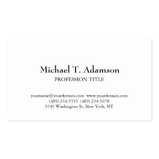 Blanco simple llano elegante del estilo retro tarjetas de visita