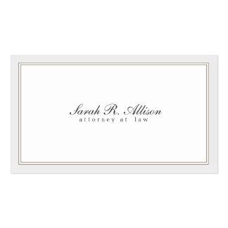 Blanco simple y elegante del abogado con la fronte plantilla de tarjeta personal