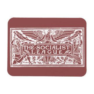 Blanco socialista del logotipo de la liga en rojo imán de vinilo