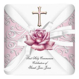 Blanco subió primer rosa 2 del damasco de la invitación 13,3 cm x 13,3cm