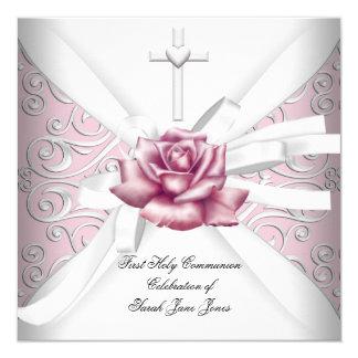 """Blanco subió primer rosa del damasco de la invitación 5.25"""" x 5.25"""""""