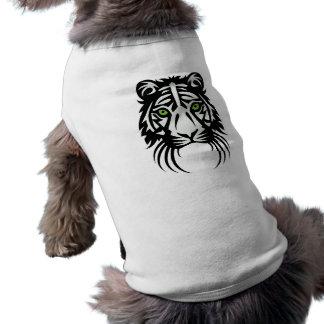 Blanco tribal del negro del tatuaje del tigre playera sin mangas para perro
