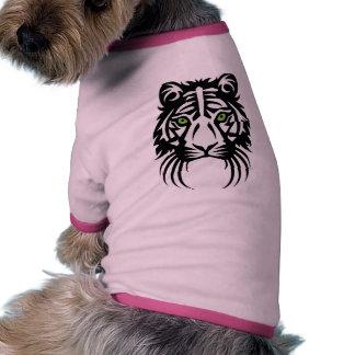 Blanco tribal del negro del tatuaje del tigre camiseta con mangas para perro