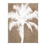 Blanco tropical hawaiano retro de la silueta de la impresión en lona estirada