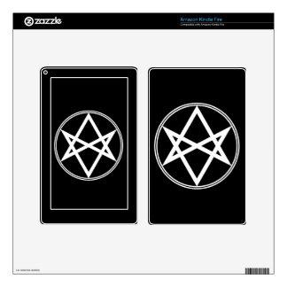 Blanco Unicursal del Hexagram de Falln Pegatina Skin Para Kindle Fire